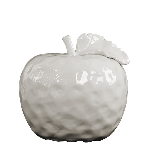 UTC50997: Ceramic Apple Figurine with Stem and Leaf MD Dimpled Gloss Finish White