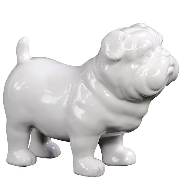 UTC10900: Ceramic Standing British Bulldog Figurine Gloss Finish White