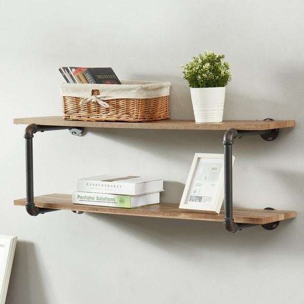 Furniture of America Gaetan Industrial Natural Tone Floating Wall Shelf