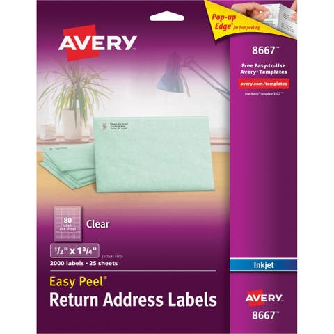 "Avery Matte Clear Return Address Labels, Sure Feed(TM) Technology, Inkjet, 1/2"" x 1-3/4"", 2,000 Labels (8667)"