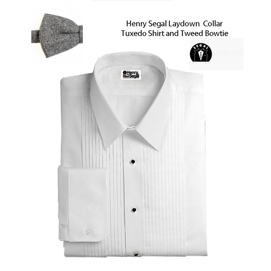 Bow-Tie Cuff Links and Studs Set Cummerbund Lay-Down Collar Tuxedo Shirt