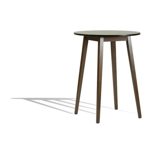 Round Pub Height Solid Wood Frame Table in Wenge Brown