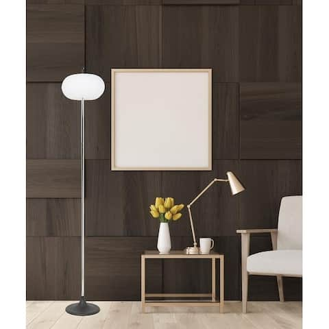 Floor Lamp with White Glass Shade Steel in Satin Chrome