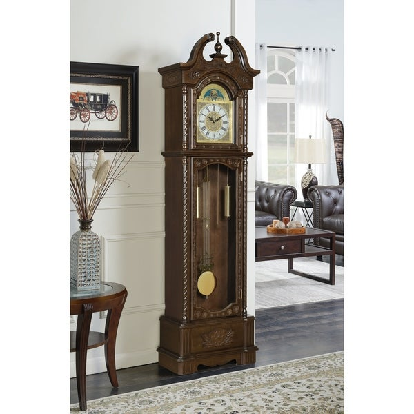 Milton Goldern Brown Grandfather Clock with Chime. Opens flyout.