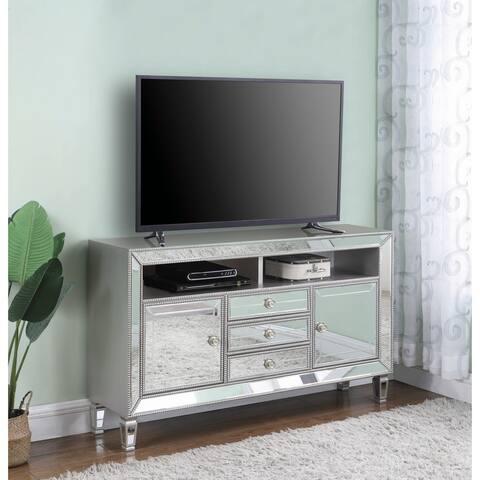 Carelle Metallic Platinum 3-drawer Rectangular TV Console