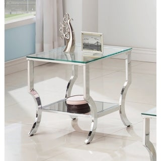 Benton Chrome Square Glass Top End Table