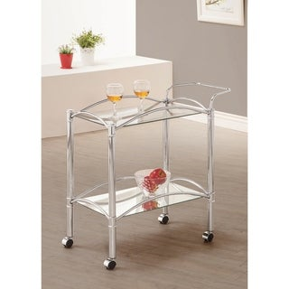 Alvey Chrome 2-tier Glass Serving Cart