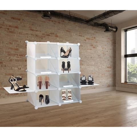 Organized Compartment Shoe Rack PE Plastic In White