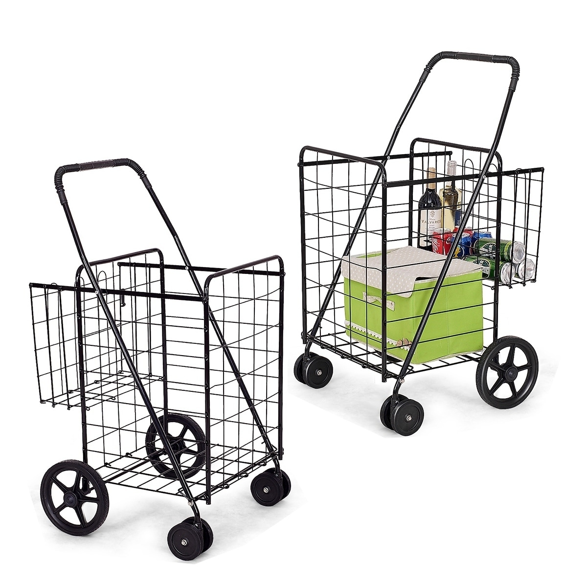Utility Folding Shopping Cart With Swivel Wheels Easy Storage Overstock 30608510
