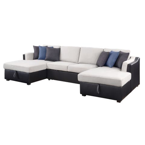 Merill Sectional Sofa with Sleeper in Beige Fabric & Black PU