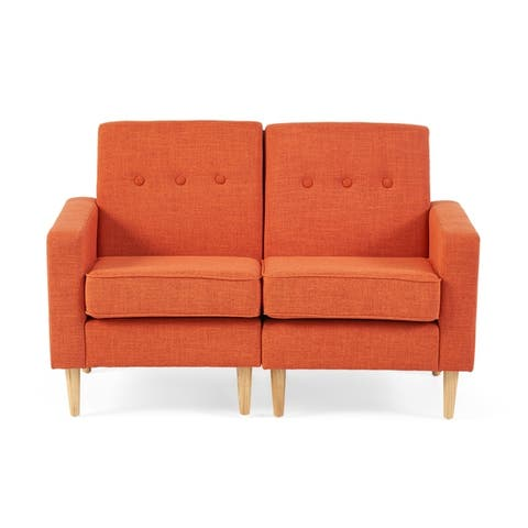 Saywer Mid-Century Modern Fabric Loveseat Sectional by Christopher Knight Home