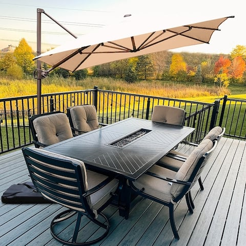 Acapulco 12.5x8 Beige Offset Cantilever Umbrella with Cross Base by Havenside Home