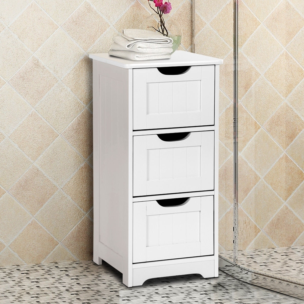 Bathroom Floor Cabinet 5-Drawer Wooden Storage Side Organizer