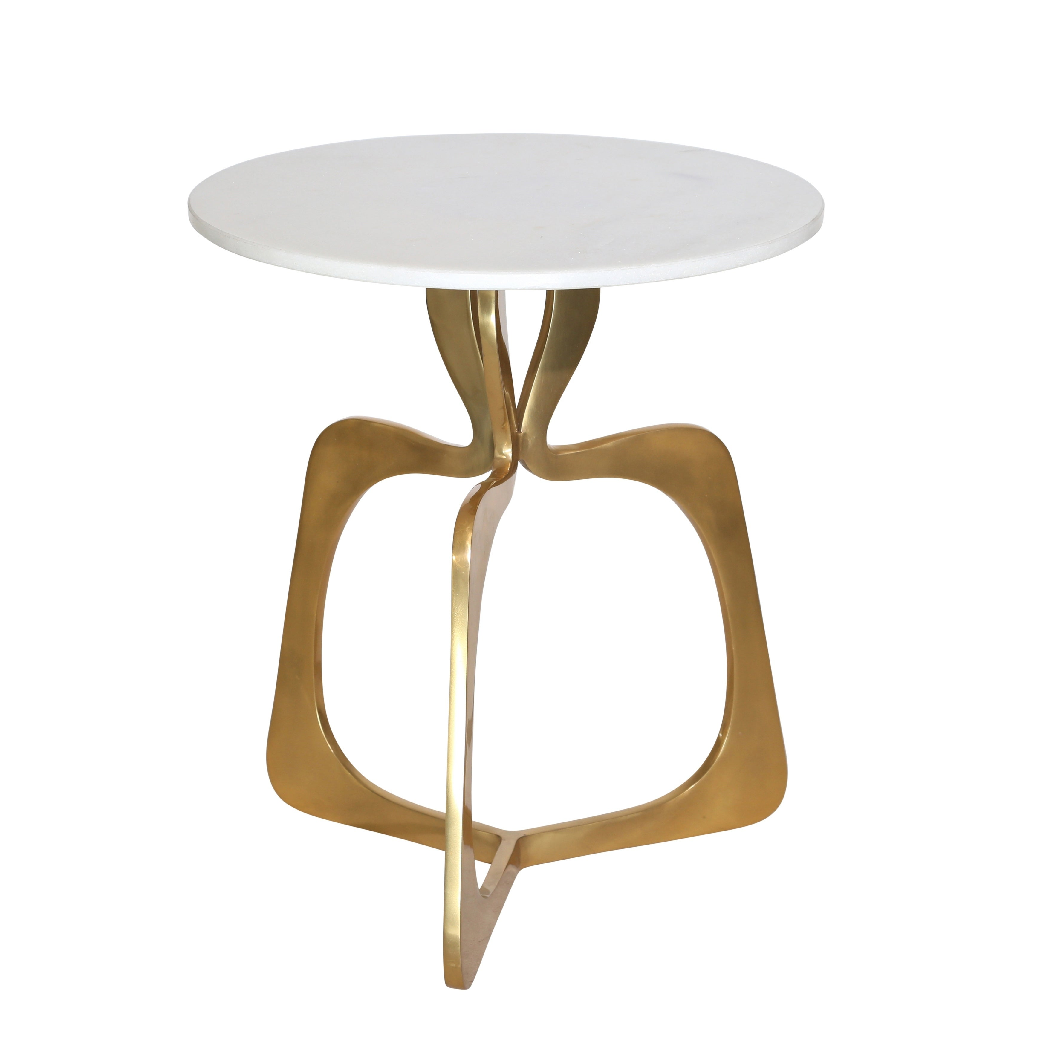 - Shop Round Metal Accent Table With Designer Open Base, White And Golden -  Overstock - 30609013
