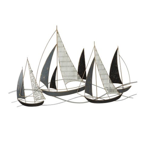 Metal Boat Wall Decor with Solid and Pattern Shades, Multicolor - 6 x 12