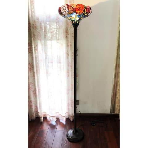 Gracewood Hollow Mueenuddin Tiffany-style Floral Shade with Antique Bronze Floor Lamp