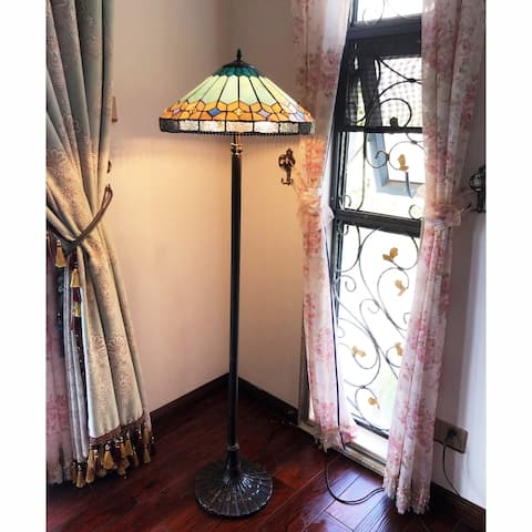 Gracewood Hollow Chennault Tiffany-style Geometric Antique Bronze Floor Lamp