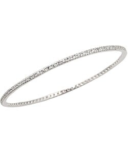 Sterling Essentials Sterling Silver Cubic Zirconia Bangle Bracelet (7-inch)
