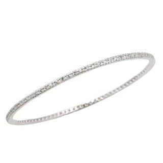 Sterling Essentials Sterling Silver Cubic Zirconia Bangle Bracelet (7-inch)