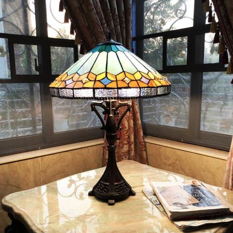 Gracewood Hollow Chennault Tiffany-style Geometric 2-light Antique Bronze Table Lamp