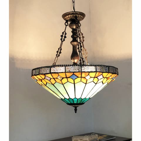 Gracewood Hollow Chennault Tiffany-style Geometric 2-light Antique Bronze Pendant with 3 Hang Chains