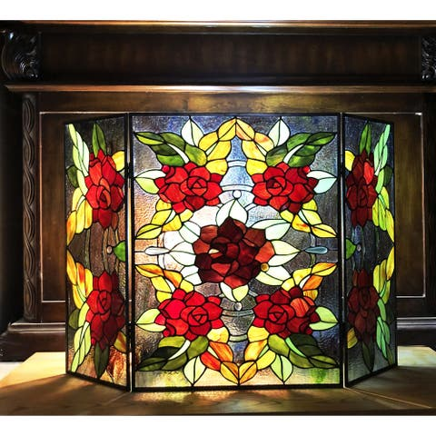 Gracewood Hollow Centina Multicolored Floral 3-panel Fireplace Screen