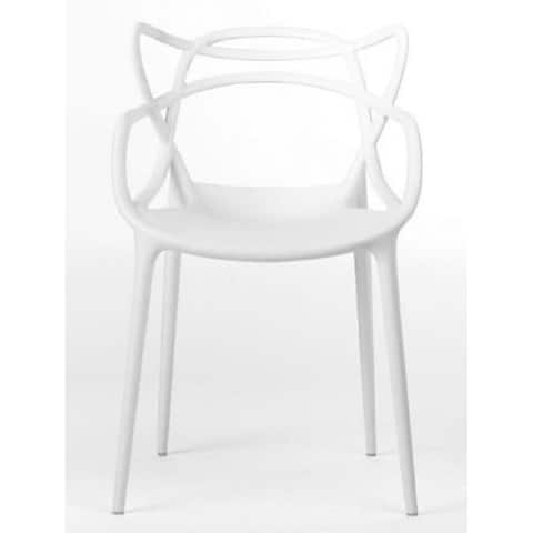 White Master Chair, Modern Plastic Patio Indoor or Outdoor Dining Stackable Chair - SET 4