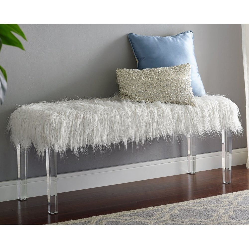 Silver Orchid  Mackaill White Faux Fur Bench (Polyester/Acrylic - Fabric - White)