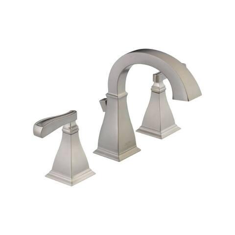 Delta Lakewood Spotshield Brushed Nickel Two Handle Lavatory Faucet 4 in.