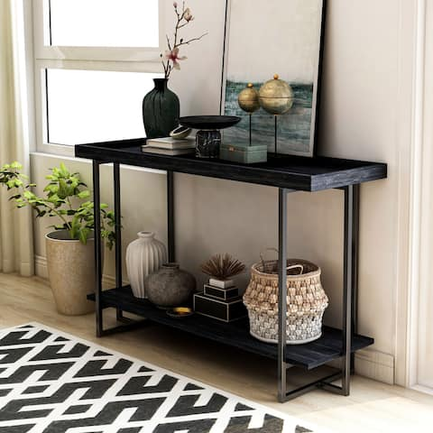 Furniture of America Alivia Black Rustic 2-shelf Sofa Table