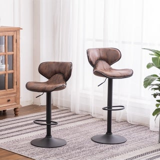 Link to Carbon Loft Medway Weathered Airlift Adjustable Swivel Barstool (Set of 2) Similar Items in Dining Room & Bar Furniture
