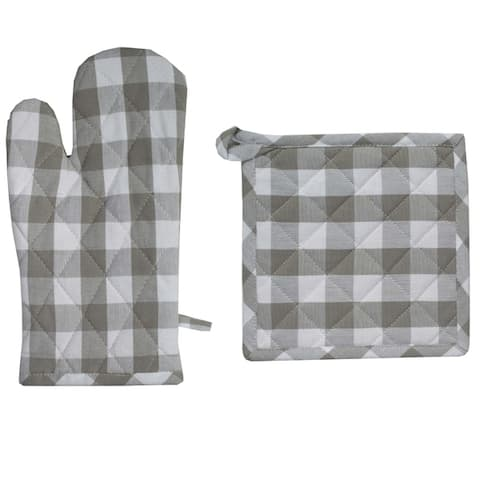 The Gray Barn Park View House Buffalo Check Hotpad and Oven Mitt Set