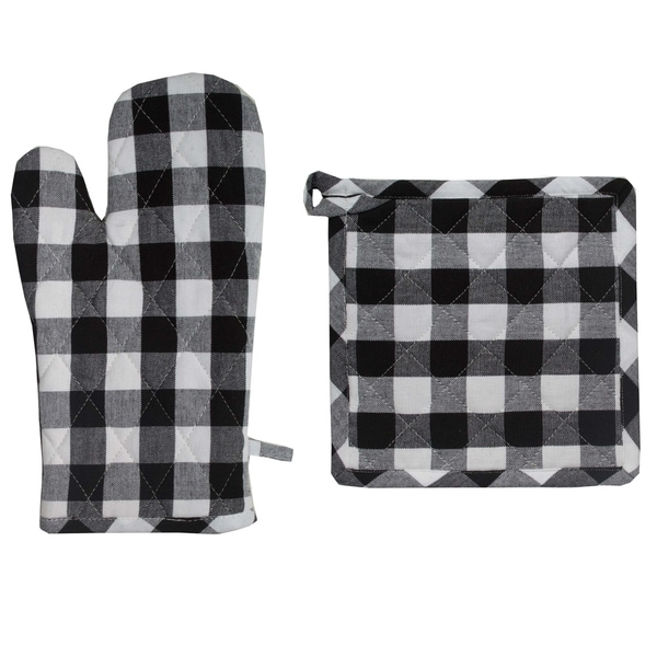 The Gray Barn Park View House Buffalo Check Hotpad and Oven Mitt Set. Opens flyout.