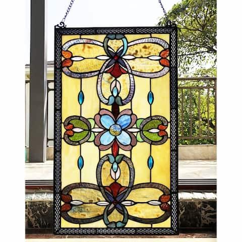 Gracewood Hollow Davies Rectangular Glass Window Panel/Suncatcher with Geometric Accents
