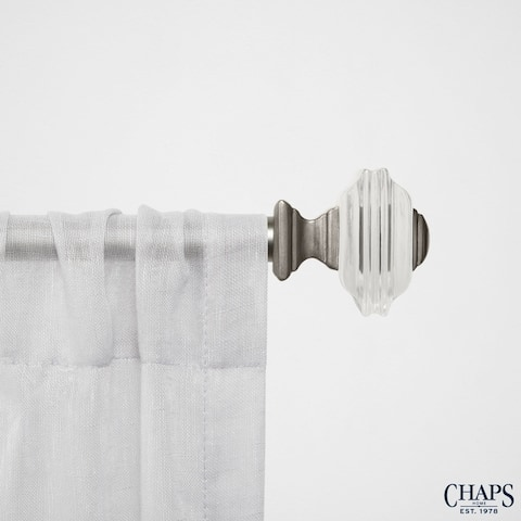 "Chaps Home Stacked Square 3/4"" Diameter Curtain Rod and Finial Set"