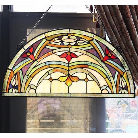 Gracewood Hollow Chu Glass Half-circle Window Panel/Suncatcher