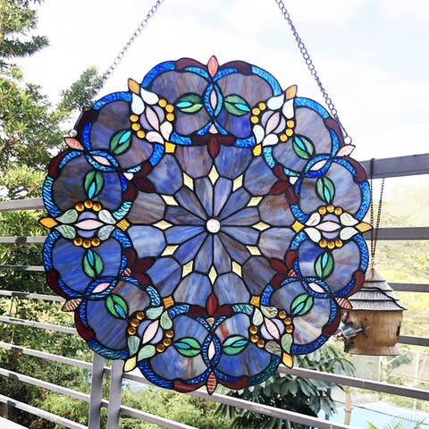 Gracewood Hollow Beidao Circular Blue Glass Window Panel/Suncatcher with Multicolored Accents