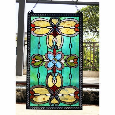 Gracewood Hollow Eaton Multicolored Rectangular Glass Window Panel/Suncatcher