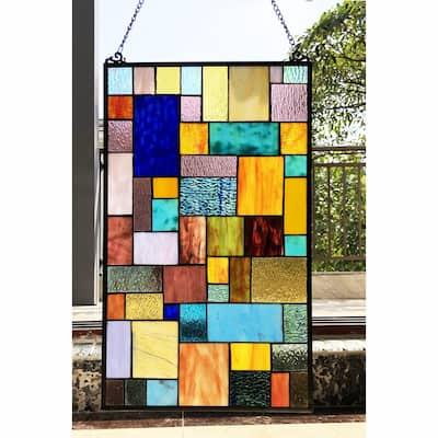 Gracewood Hollow Cabico Glass Window Panel/Suncatcher with Geometric Accents