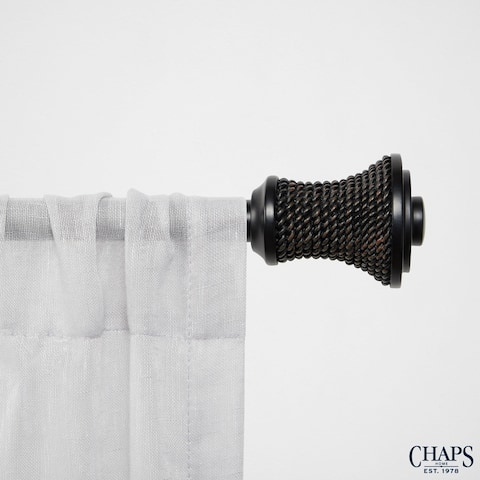 "Chaps Home Raffia 3/4"" Diameter Window Curtain Rod and Finial Set"