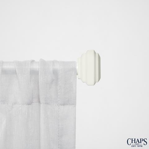 """Chaps Home Square Cap 3/4"""" Diameter Window Curtain Rod and Finial Set"""