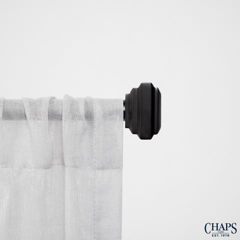 "Chaps Home Square Cap 3/4"" Diameter Window Curtain Rod and Finial Set"
