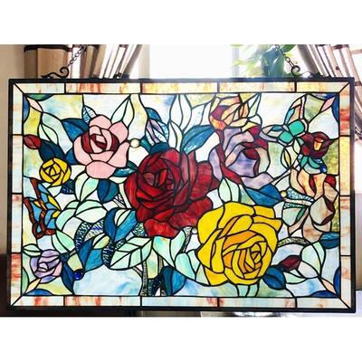 Gracewood Hollow Bolina Glass Window Panel/Suncatcher with Floral Embellishments