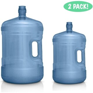 5 Gallon & 3 Gallon Water Jugs - BPA FREE Food Grade Plastic Water Containers Combo Pack - Set of Two