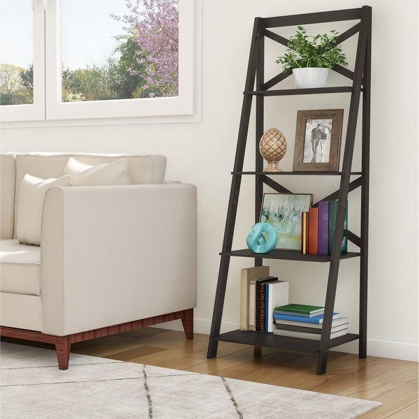 4 Tiered Free Standing Ladder Bookshelf by Lavish Home. Opens flyout.
