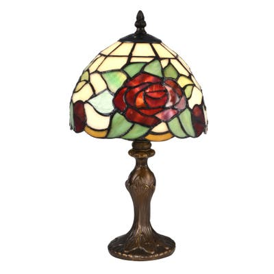 Indian Rose Tiffany Accent Table Lamp