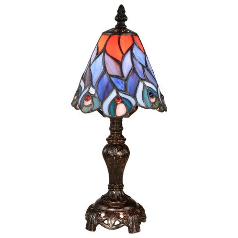 Springdale 13.5 H Peacock Tiffany Accent Lamp