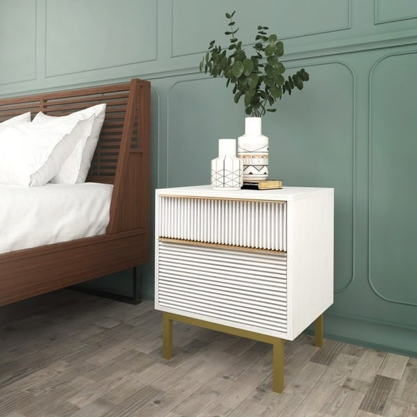 Hopper Studio Avant White 2 Drawer Nightstand