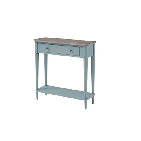 Wood Small Console Table with Drawer and Shelf