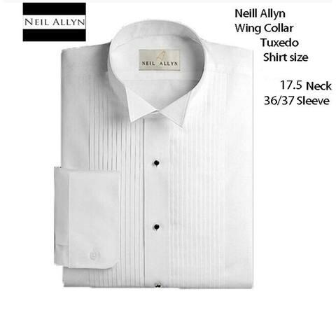 Men's 100% Cotton 17.5 neck 36/37 sleeve, color white